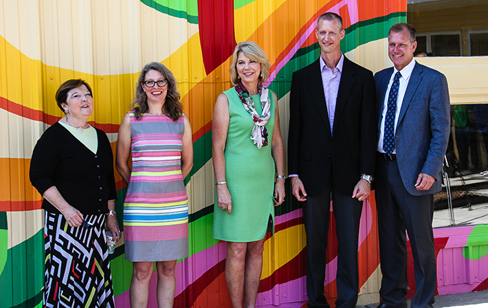 Left to Right: SummerWorks Director Kathe Oleson-Lyons, muralist Kristin Pluhacek, Omaha Mayor Jean Stothert, Schemmer Architect Scott Heaney, AIA and Omaha Parks and Recreation Director Brook Bench