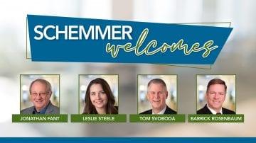 Schemmer Welcomes Jonathan Fant, PE, CESCP; Leslie Steele, PE; Tom Svoboda, PE, CEM; and Barrick Rosenbaum, PE
